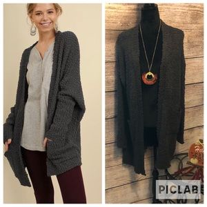 Popcorn Knit Open Cardigan Charcoal